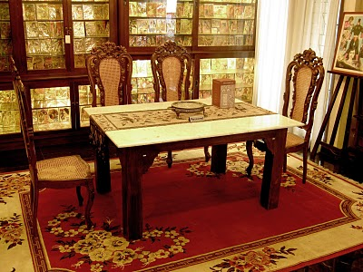 Indonesian Antique Furniture Marble Dining Table Sulia